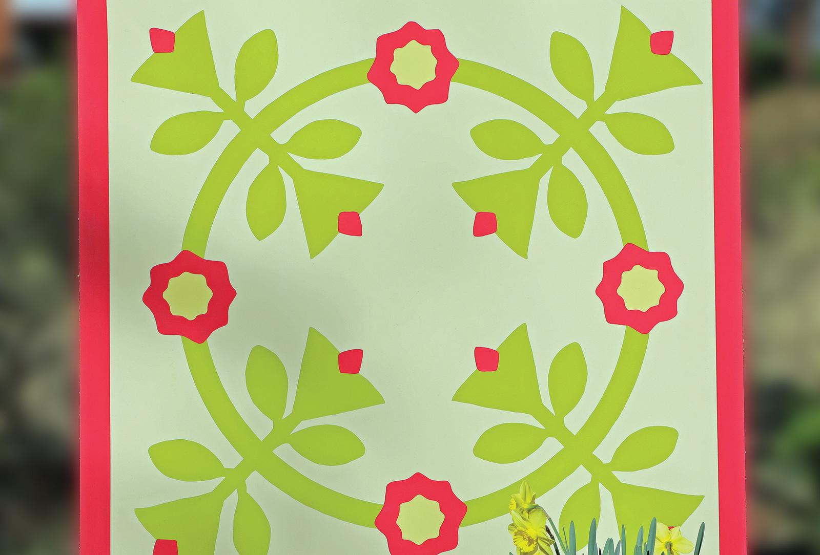 highlands nc Wreath of Roses Quilt Block