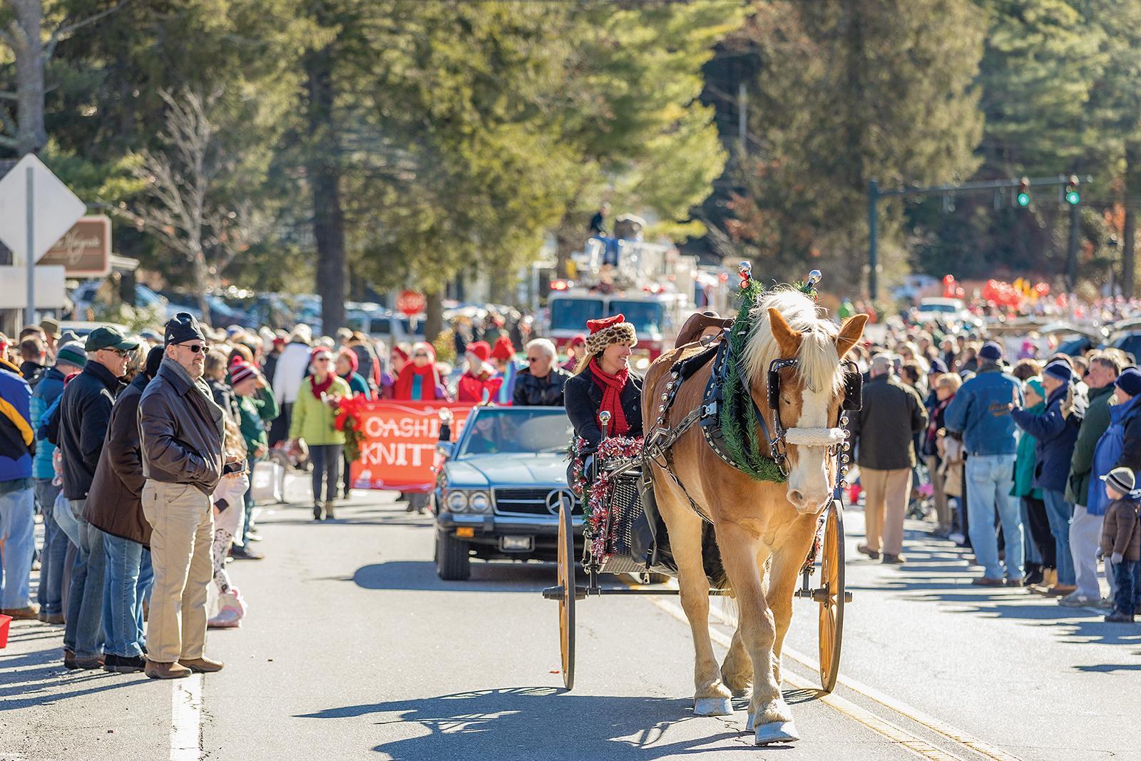 cashiers christmas parade nc horse