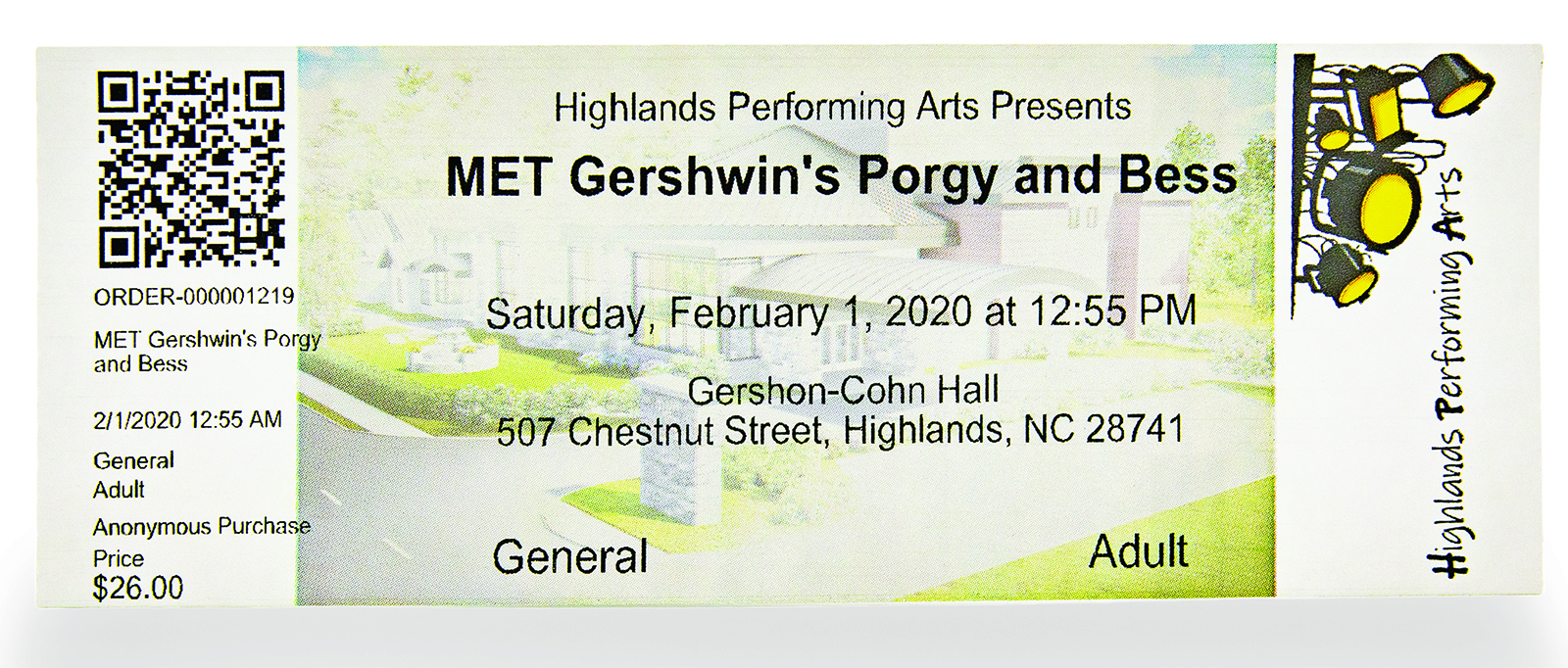 highlands pac ticket