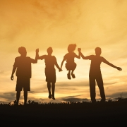 Silhouette family friendship happy, Concept family.